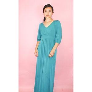 (92) VTG 1970s Boho Maxi Dress with slit Sleeves